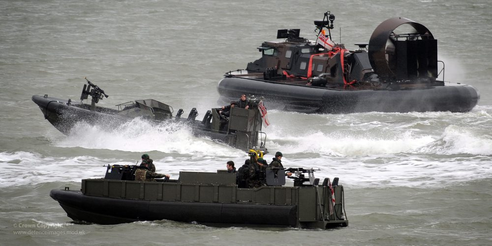 Royal Marines Griffon 2400TD Hovercraft and Offshore Raiding Craft (ORC)