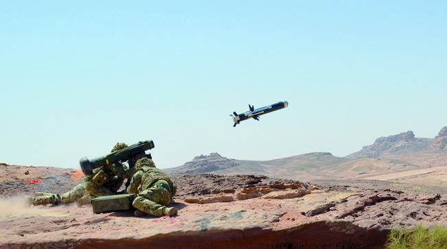 Javelin missile training in Jordan