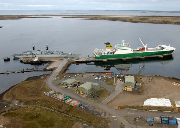Point Class Strategic RORO at Mare Harbour Falkland Islands