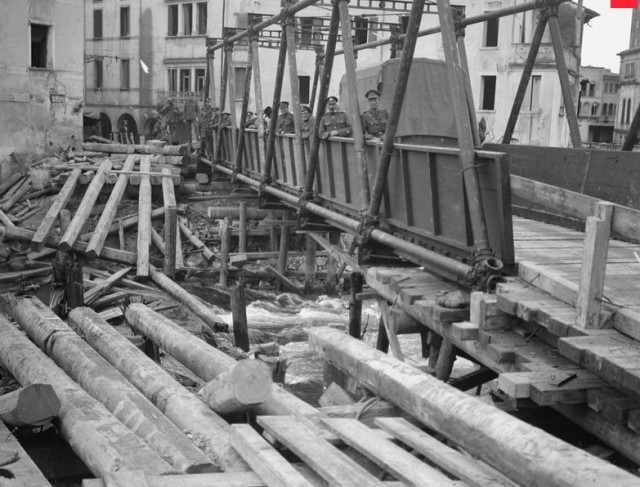 Bridging Company Royal Engineers constructing bridge over River Livenza alongside which had been destroyed by the Austrians