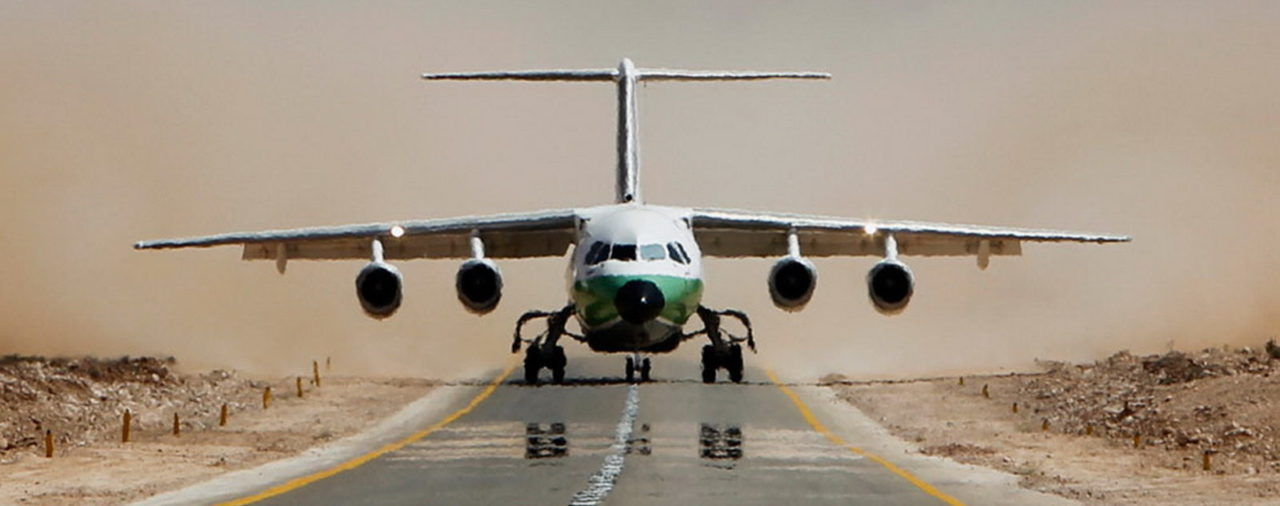 An Air Libya BAe-146-300 aircraft takes off from Rhebat air strip, a stretch of mountain highway, near the Nafusa Mountains, western Libya