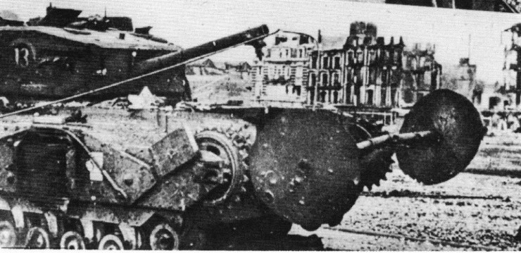 Early Churchill AVRE with TLC Carpet Laying Device at Dieppe