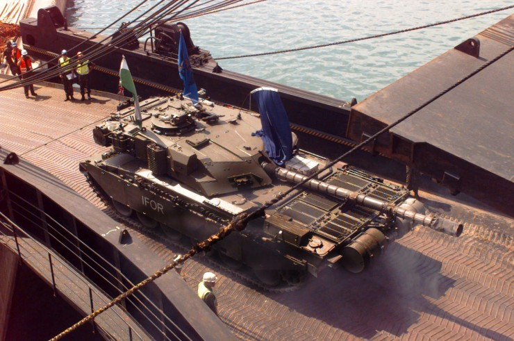 The Commander's Challenger Tank of 1st The Queen's Dragoon Guards (The Welsh Cavalry) rolls down the ramp of the Russian commercial ship Vladimir Vaslyaev in Split, Croatia, during deployment in support of Operation Joint Endeavor