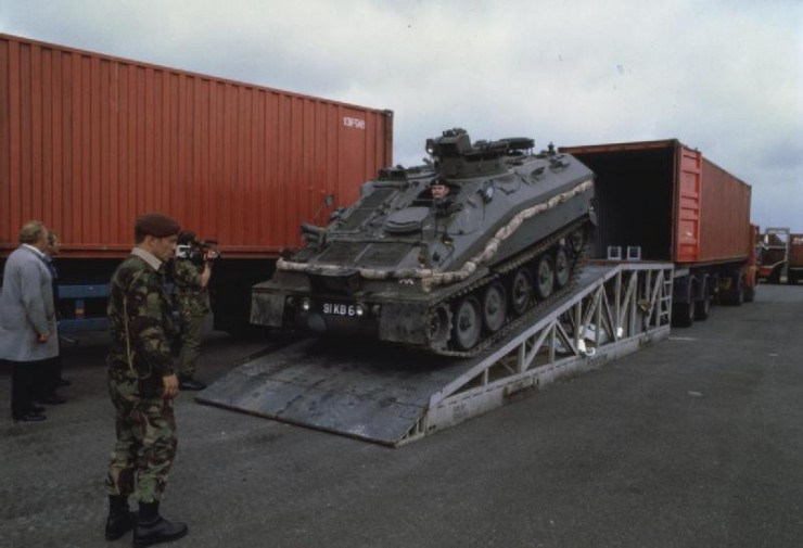 CVRT) Spartan being loaded into a container on Exercise Lionheart 1984