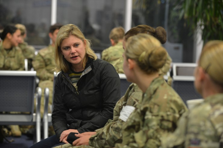 Secretary of State for International Development Justine Greening talking to Medics prior to flying to Freetown,  Catterick based 35 Squadron from 5 Medical Regiment have departed from RAF Brize Norton, Oxfordshire on Tuesday 21 October as part of the Army's support to the UK's response to the Ebola outbreak. The unit will be deploying to Sierra Leone to man the Ebola Training Academy; the Academy's role is to train the health care workers who will be working in the five Ebola Treatment Units the UK is currently building.
