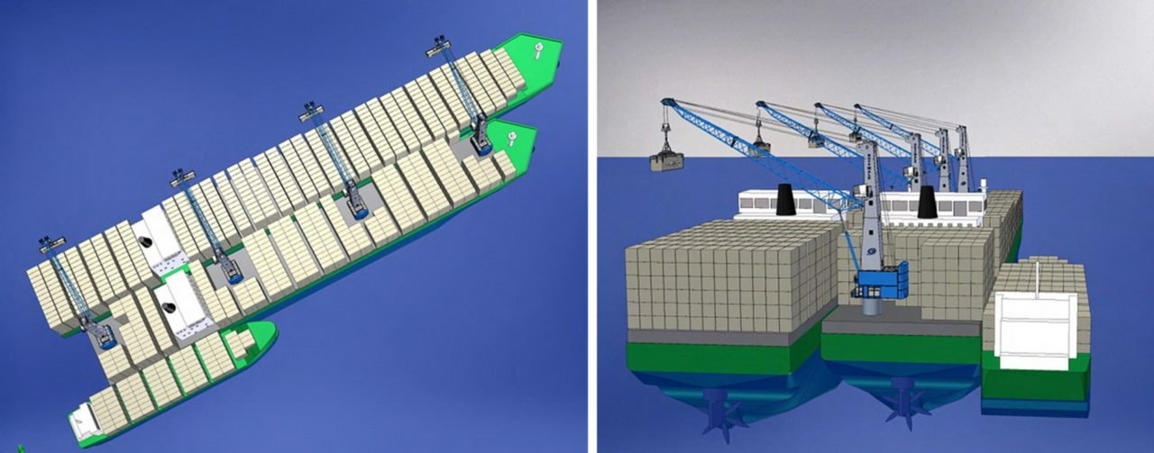 Panamax conversion floating container port