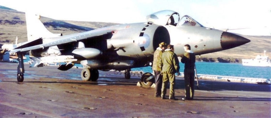 San Carlos FOB Falkland Islands - Sea Harrier divert to HMS Intreipid 02